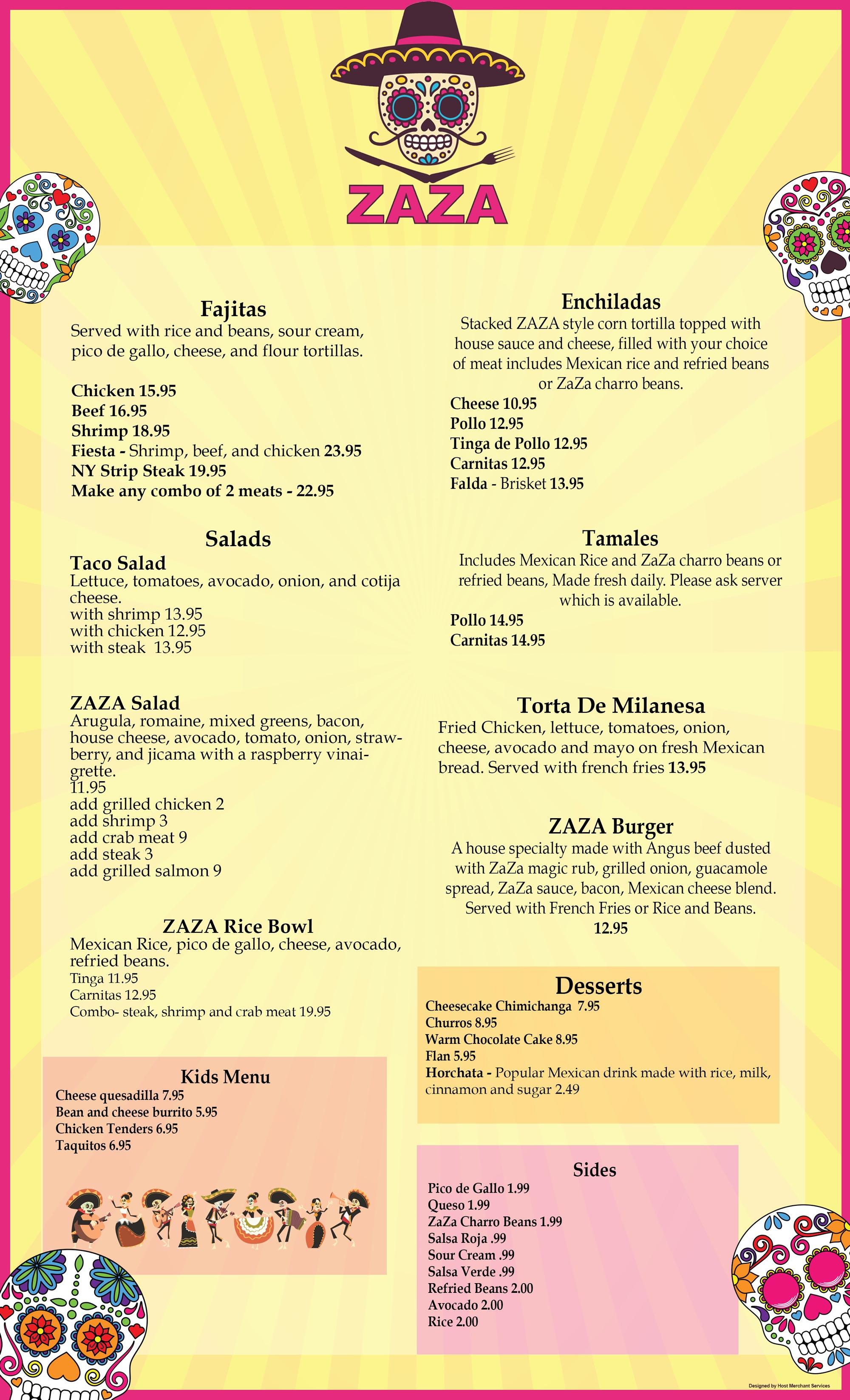 ZAZA Mexican restaurant menu page 2