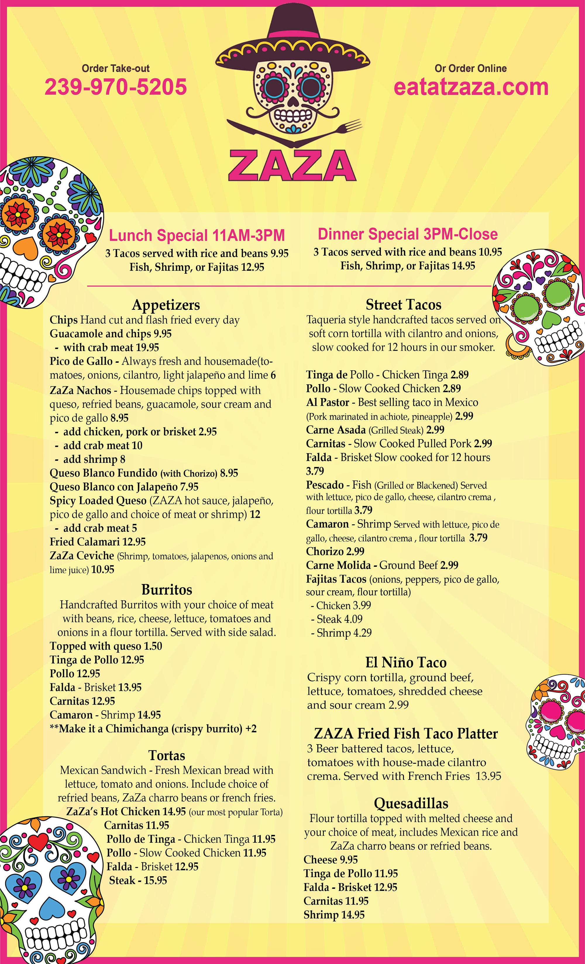 Zaza mexican restaurant menu 1